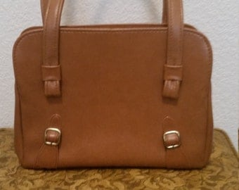 1970s Cute Structured Handbag, Framed opening, Faux Leather, 2 handles. Brown, Item #
