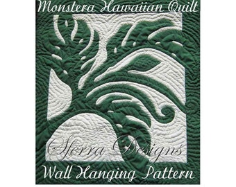 """Hawaiian Monstera Pattern, Quilted Wall Hanging, Pattern and Instructions, Swiss Cheese Philodendron, Hand Drawn Pattern, 29"""" X 32"""""""