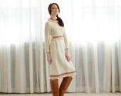 1960s Folk Dress - Vintage 60s Crocheted Dress - Summer Stage Dress