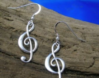 Treble Clef Earrings, Music Jewellery, Silver, Music note earrings, Music Earrings, G- clef jewellery, Gift for music lover, Gift wrapping.
