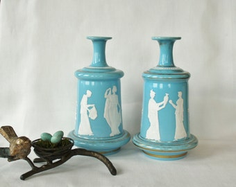Pair of Antique Classical Hand Enamel Painted Blue Milk glass Bristol Glass Cologne Barber Bottles