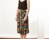 Floral Pleated Skirt / Jungle Inspiration Skirt / Vintage Abstract Skirt