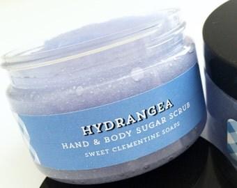 Sugar Scrub, Hydrangea Sugar Scrub, Body Scrub, Body Polish, Hand Scrub, Foot Scrub