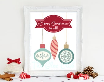 Christmas Print, Merry Christmas to all, Holiday Printable, Instant Download, 8 x 10 Digital, Ornaments Print, Holiday Sign, Christmas Sign