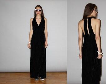 Vintage 1960s Goth Black Crushed Velvet Deep V Neck Plunging Neck Line Maxi Dress -  1960s Maxi Dress - 60s Velvet Maxi Dresses  - WD0858