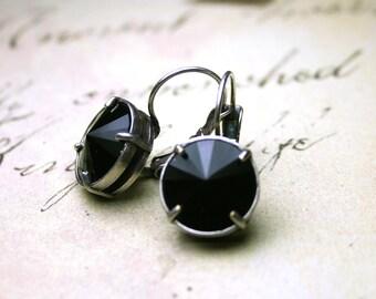 ON SALE - French Leverback Crystal Earrings In Jet Black - Swarovski Crystal Rivoli Stones In Antique Silver - Black Round Crystal Earrings