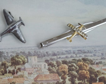 Vintage - By plane Tie clip and Spitfire Badge collection