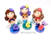 Custom Cold Porcelain Clay Little Mermaid Figurine, Mermaid Cake Topper, Cupcake Topper, Keepsake /Made to Order - Not Polymer Clay Mermaid