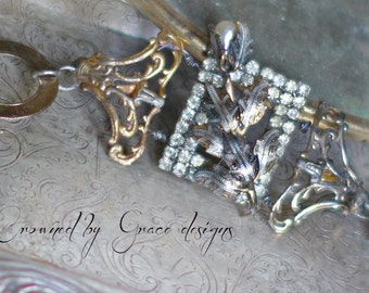 Rose Hill Manor ~ vintage assemblage bracelet rose damascene pearl rose one of a kind crowned by grace