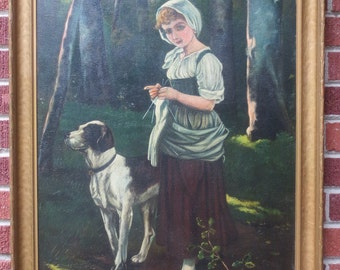 Vintage WOMAN & POINTER DOG Original Large Oil Painting by Bruno Zeumer c1920s