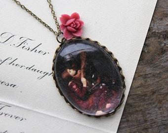 La Belle Dame sans Merci Necklace. John William Waterhouse. (magnifying pendant art book illustration jewelry antique romantic jewellery)