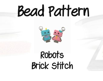 Blue and Pink Robots, Brick Stitch Bead Patterns, Delica Seed Beads | DIGITAL DOWNLOAD