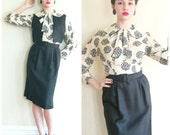 RESERVED Vintage 1950s Dress and Vest Suit in Black and Ivory Silk Print / 50s Pussycat Bow Dress Suit / Small