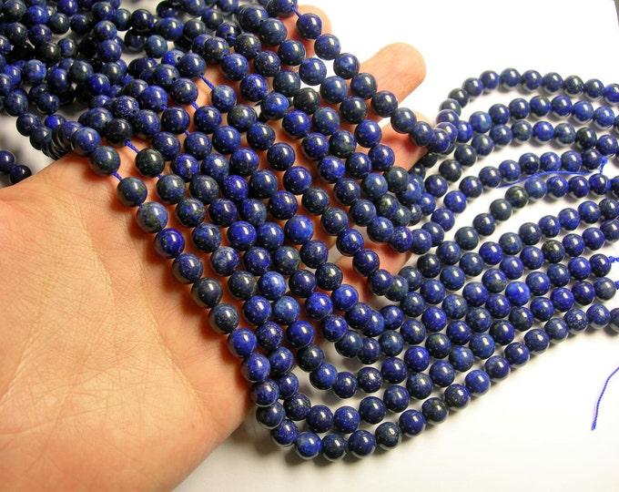 Lapis lazuli 8mm round 16 inch strand  - 49 beads - Dark Lapis - RFG1072