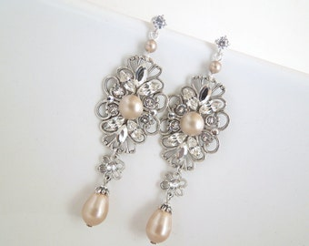 Pearl Earrings champagne Pearls Bridal Pearl Crystal Earrings Pearl Rhinestone Earrings Bridal Rhinestone Earrings Teardrop pearl DINA