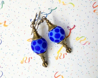 Royal Blue and Brass Spotted Earrings (2294)