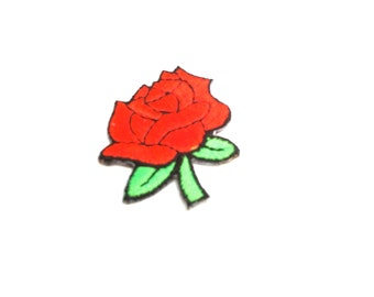deadstock iron-on rose patch red roses iron on 90s early 1990s club kid high fashion small patches