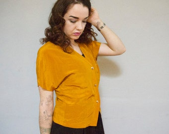 dolman sleeve ochre button up v neck 80s 1980s vintage office wear classy professional nice gold buttons small s kitsch preppy blouse S M