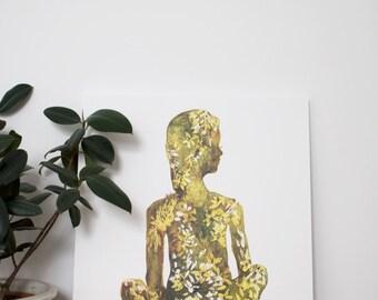 Zen Girl Watercolor Print