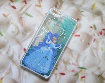 Cinderella Liquid Blue Glitter iPhone Case