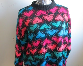 SALE Vintage Hearts Valentine's Day 90s Over Sized Sweater