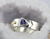Custom Trillion Gemstone Ring - Sterling Silver and 14k Yellow Gold