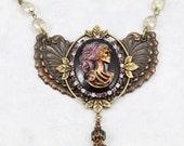 Goth Jewelry, Cameo Necklace, Antique Cameo Necklace, Cameo Jewelry, Necklaces for Women, Statement Necklace, Rhinestone Jewelry - V2