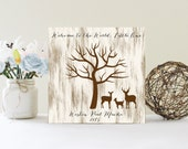Baby Shower Fingerprint Tree Sign, Guest Book Alternative, Welcome To The World Little One, Nature Themed Shower, Deer Fingerprint Tree