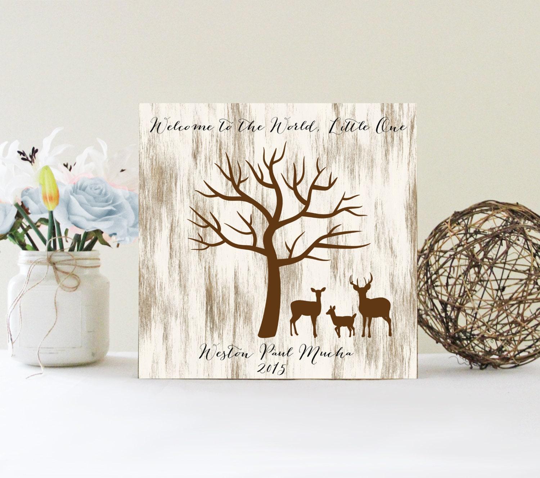 Thumbprint Tree Guest Sign: Baby Shower Fingerprint Tree Sign Guest Book Alternative