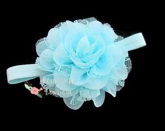 Aqua Blue Baby Headband, Chiffon Lace Flower Headband, Newborn Headbands, Shabby Chic Headband, Light Aqua Headband, Infant Headband