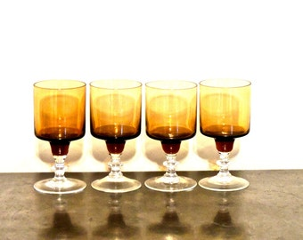 vintage footed aperitif glasses - 1950s-60s mid century amber glass footed goblets set of 4