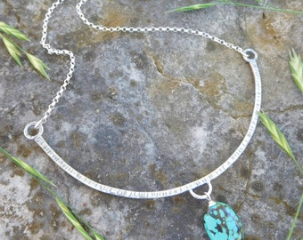 Sterling silver collar necklace with Turquoise - metalwork