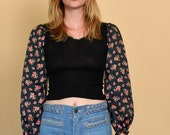 Black top with floral sleeves