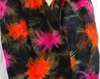 silk crepe scarf large long Stormy Mums hand painted unique pink orange black wearable art women fall fashion