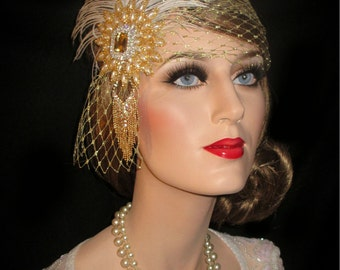 GOLD FRENCH MYSTIQUE Gatsby Headband- 20s Gold French Net & Pearls Flapper Headband, Old Hollywood Headpiece, Great Gatsby Forehead Band