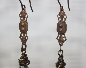 Diana - Brass, Copper and Czech Glass Bead Dangle Earrings