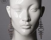 Fishbone earrings / Copper color dangle earrings / Boho oversized statement earrings