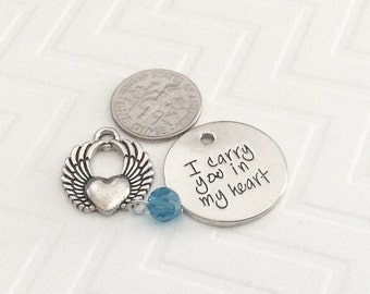"1 - ""I Carry You in My Heart"" Pendant, 3 piece charm pendant, jump rings included,  included,  miscarriage jewelry, memorial necklace"