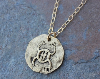Ancient Scarab Disc on Gold Necklace -  Egyptian protection and luck symbol amulet coin charm - free shipping in USA - mens & womens
