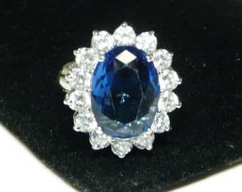 KJL Princess Diana Ring - Size 10 Kenneth Jay Lane Blue & Clear Crystal Glass Rhinestones - Silvertone Vintage Kenneth Jay Lane