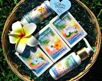 HAWAIIAN GIFT BASKET with 2 Body Butters and 3 Soaps. You choose from Plumeria, Gardenia, Tuberose, Puakenikeni, Pikake and Tahitian Tiare.