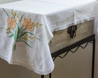 Vintage Table Scarf, Embroidered Dresser Scarf, Floral Needlework, Orange Daffodils, Flower Embroidery, Cottage Home Decor, White Linen