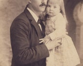 Adorable Little Girl and a Man In a BOWLER HAT With Their Cheeks Pressed Together in Tender Cabinet Card Photo Reading Ohio 1880s