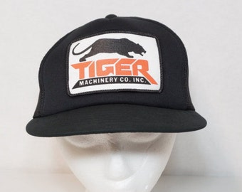 Tiger Machinery Co Vintage Snapback Patch Hat Mesh Black Orange
