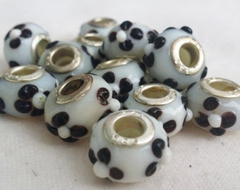 14 3D Black and White Flower Large 5 mm Hole  Beads fit European Jewelry - Only 1 available 1206