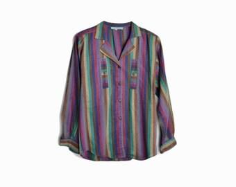 Vintage 80s Cacharel Paris Mexican Striped Shirt / Multi-Color Striped Blouse - women's medium/large