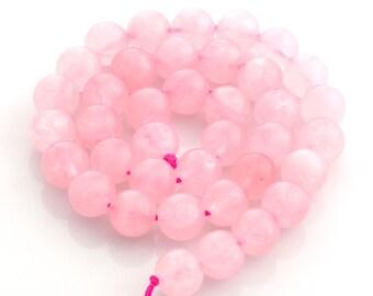"""Rose Quartz 10mm beads, smooth round Rose Quartz beads - set of 38 beads (40cm / 16"""" strand)"""