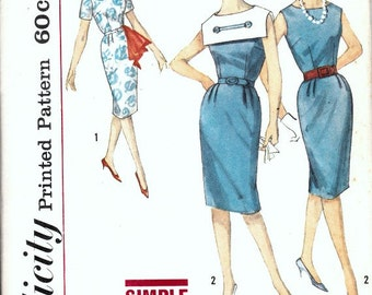 1960's Sheath Dress Pattern with Detachable Collar  SIMPLICITY 4431  Middy Style Collar  Mad Men  Astronaut Wives Club  Bust 32