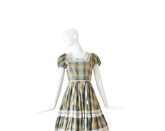 1960s Dress • 60s Plaid Day Dress • Small Medium  S / M