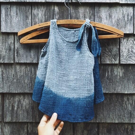 Little Girl's Dress, Ombre Indigo, 12-18 months